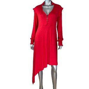 ASOS Red Asymmetrical Hem Long Sleeve Dress 10